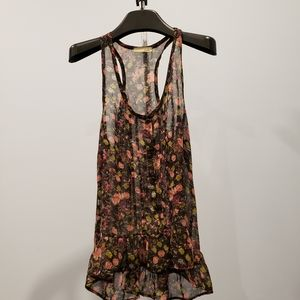 FREE WITH PURCHASE Sheer Floral Peplum Tank sz S